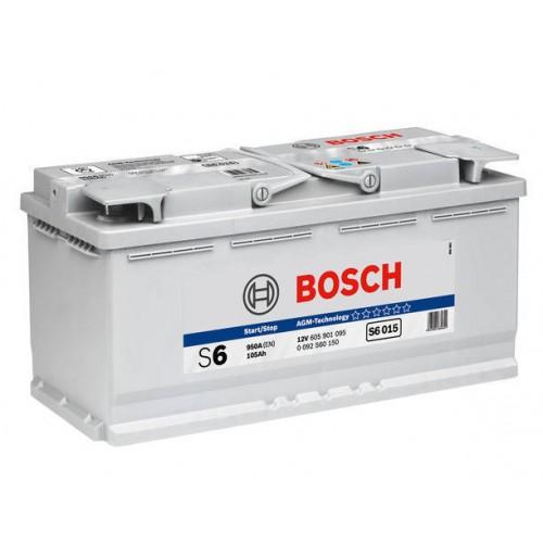 "Аккумулятор BOSCH ""S5 A15 (S6 015)"" AGM, 105ah 950A, 394x175x190, Обратная 0 092 S60 150"
