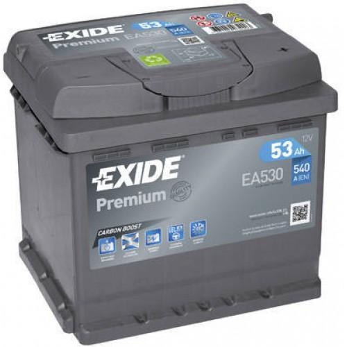 Аккумулятор Exide Premium 53 А/ч 540 A, Обратная полярность EA530, размеры 207x175x190
