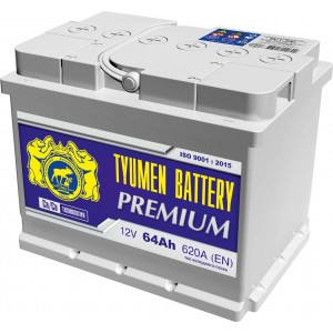 Аккумулятор Тюмень 6ст-64L Premium, 64 а/ч 590 A, 242x175x190, Прямая