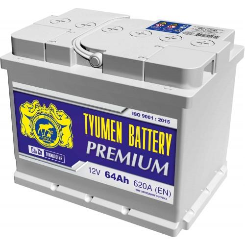 Аккумулятор Тюмень Premium, 64 А/ч 620 A, 242x175x190, 6СТ-64L Прямая полярность (+-)