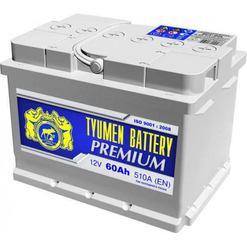 Аккумулятор Тюмень Premium 60 А/ч 510 A, 242x175x175, 6СТ-60LA Обратная полярность (-+)