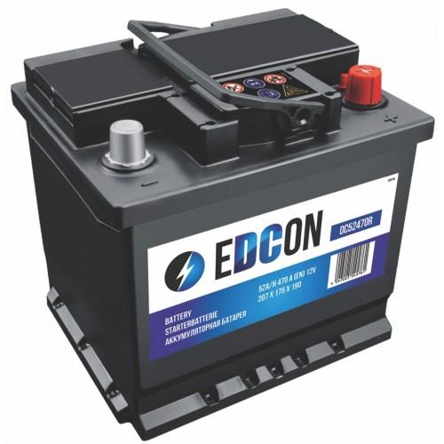 Аккумулятор автомобильный eDCon 52 А/ч 470 А, 207x175x190, Обратная полярность (-+)