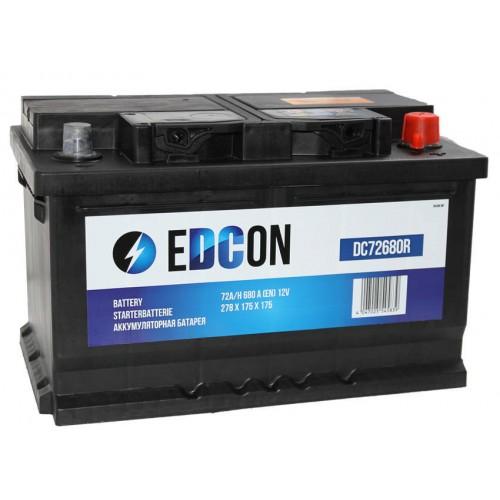 Аккумулятор автомобильный eDCon 72 А/ч 680 А, 278x175x175, Обратная полярность (-+)