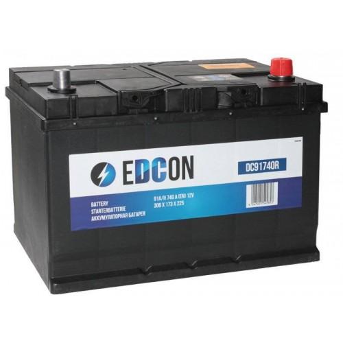 Аккумулятор eDCon 91 А/ч 740 А, Обратная полярность DC91740R, размеры 306x173x225