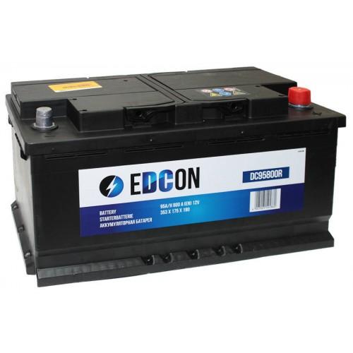 Аккумулятор автомобильный eDCon 95 А/ч 800 А, 353x175x190, Обратная полярность (-+)