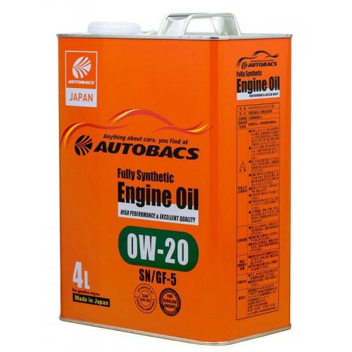 Моторное масло AUTOBACS Fully Synthetic 0W-20 SN/GF-5, 4 литра, синтетическое