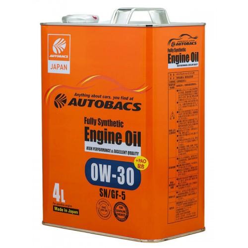 Моторное масло AUTOBACS Fully Synthetic 0W-30 SN/GF-5, 4 литра, синтетическое