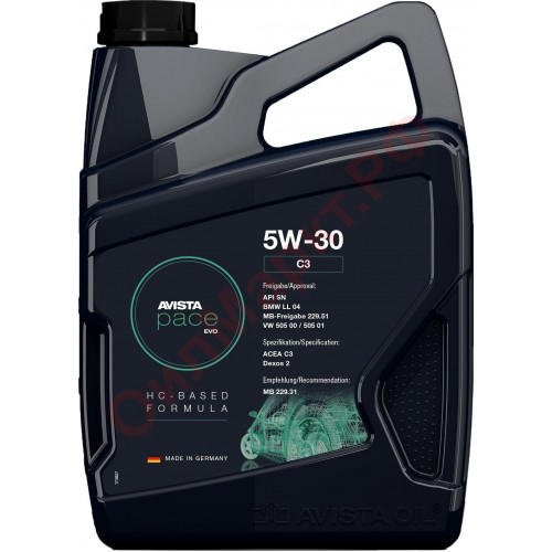 Моторное масло AVISTA pace EVO C3 SAE 5W30, 5 литров, синтетическое