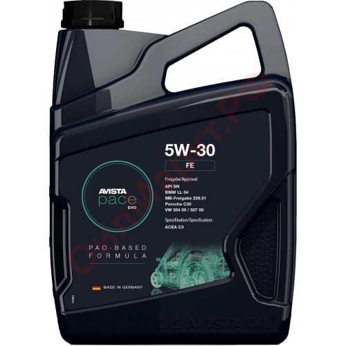 Моторное масло AVISTA pace EVO FE SAE 5W30, 5 литров, синтетическое