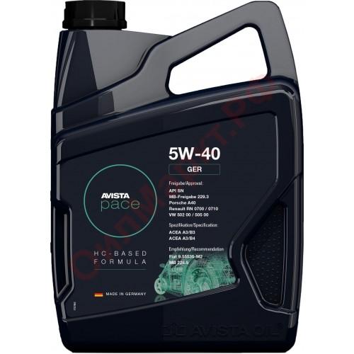 Моторное масло AVISTA pace GER SAE 5W40, 4 литра, синтетическое
